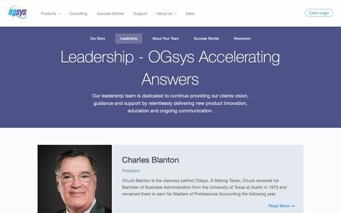 Screenshot of Team Page ogsys.com - Leadership - OGsys Accelerating Answers - captured April 3, 2019