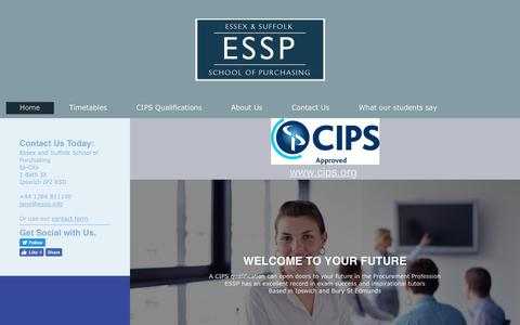 Screenshot of Home Page essp.info - Offering CIPS qualifications in East Anglia, Cambridgeshire, Suffolk, Essex and Norfolk - captured Aug. 25, 2017
