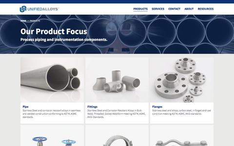 Screenshot of Products Page unifiedalloys.com - Products - Unified Alloys - captured June 11, 2017