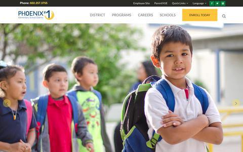 Screenshot of Home Page phxschools.org - Phoenix Elementary School District #1 | Inspiring Every Child to Achieve! - captured Jan. 16, 2018