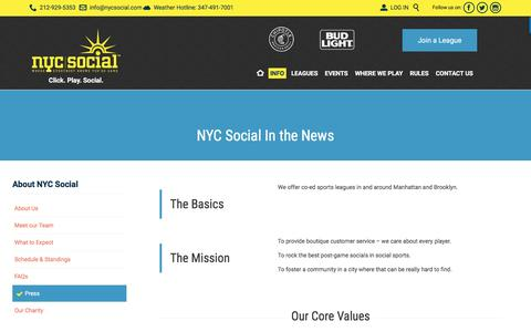 Screenshot of Press Page nycsocial.com - NYC Sport & Social in the news - captured Aug. 17, 2016