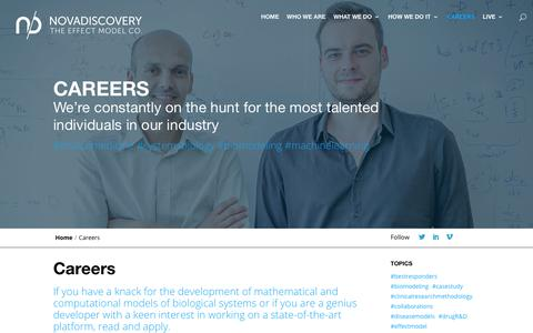 Screenshot of Jobs Page novadiscovery.com - Careers - Novadiscovery - captured Oct. 18, 2018