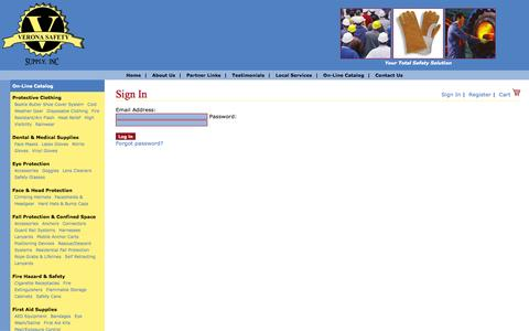 Screenshot of Login Page veronasafety.com - Shoe Covers, Lab Coats, Nitrile Gloves, Fall Protection, Verona Safety Supply, Inc - captured Oct. 26, 2014