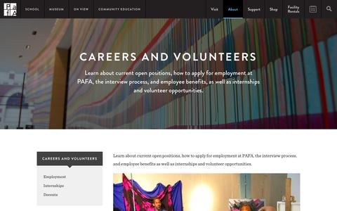 Screenshot of Jobs Page pafa.org - Careers and Volunteers | PAFA - Pennsylvania Academy of the Fine Arts - captured Jan. 18, 2016