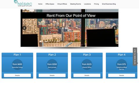 Screenshot of Pricing Page telsec.net - Prices for Telsec Virtual & Serviced Offices for Lease & Rent in Toronto - captured Feb. 18, 2016