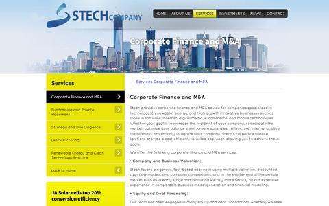 Screenshot of Services Page stechcompany.com - Amsterdam Corporate Finance | Renewable Energy M&A | Technology M&A | - captured Oct. 9, 2014