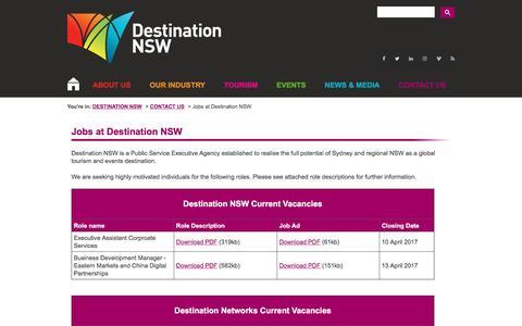 Screenshot of Jobs Page destinationnsw.com.au - Jobs - Destination NSW - captured April 8, 2017