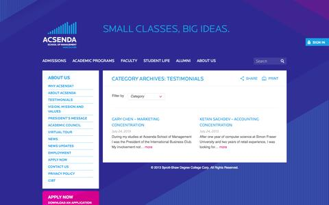 Screenshot of Testimonials Page acsenda.com - Testimonials Archives - Acsenda School of Management - Vancouver - captured Oct. 4, 2014