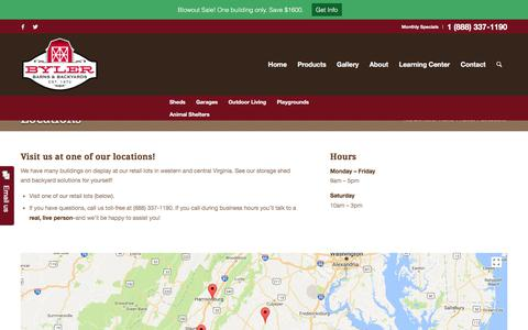 Screenshot of Locations Page bylerbarns.com - Your Storage Shed Solution - Delivery & Installation - captured Oct. 11, 2017