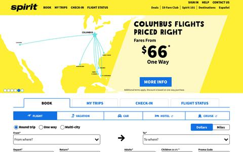 Screenshot of Home Page spirit.com - Spirit Airlines | flights, check-in, boarding pass, flight status, vacations - captured April 27, 2018