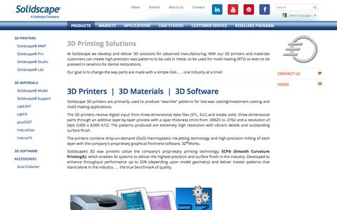 Screenshot of Products Page solid-scape.com - 3D printing solutions for mold making and lost wax investment casting | Solidscape - captured Oct. 31, 2014