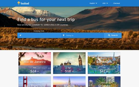 Screenshot of Home Page busbud.com - Schedules and ticket info for worldwide bus travel | Busbud - captured Dec. 13, 2014