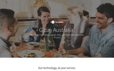 Screenshot of Landing Page opentable.com - OpenTable is coming to Australia! - captured March 7, 2016