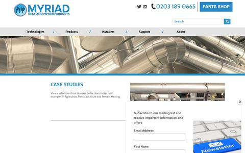 Screenshot of Case Studies Page myriadceg.com - Case Studies   Myriad Heat & Power Products - captured Oct. 19, 2018