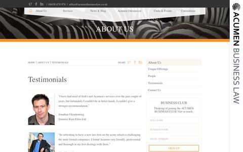Screenshot of Testimonials Page acumenbusinesslaw.co.uk - ACUMEN BUSINESS LAW - Testimonials - captured July 4, 2016