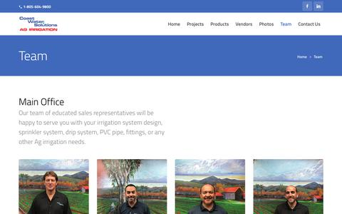 Screenshot of Team Page coastwatersolutions.com - Team - Coast Water Solutions - captured July 19, 2018