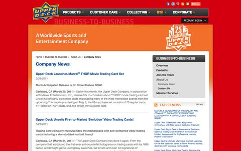 Screenshot of Press Page upperdeck.com - The Upper Deck Company   Company News - captured Oct. 27, 2014