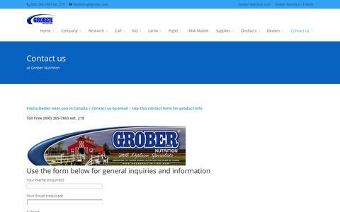Screenshot of Contact Page grobernutrition.com - Contact us at Grober Nutrition | Grober Nutrition - captured Sept. 30, 2014