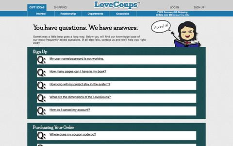 Screenshot of Contact Page FAQ Page lovecoups.com - Frequently Asked Questions & Contact | LoveCoups.com - captured Jan. 30, 2016