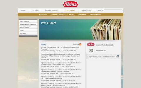 Screenshot of Press Page heinz.com - Heinz - Press Room - captured Sept. 19, 2014