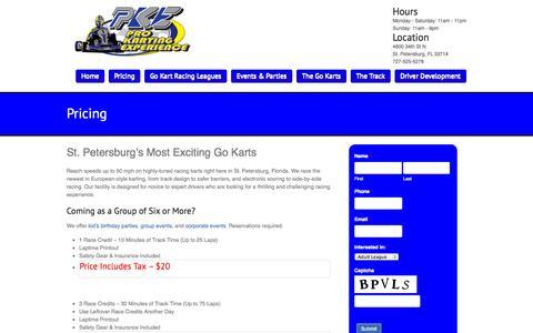 Screenshot of Pricing Page prokartexp.com - St. Petersburg Go Karts | St. Pete Go Karting | 727-525-KARTPro Karting Experience - captured Oct. 3, 2014