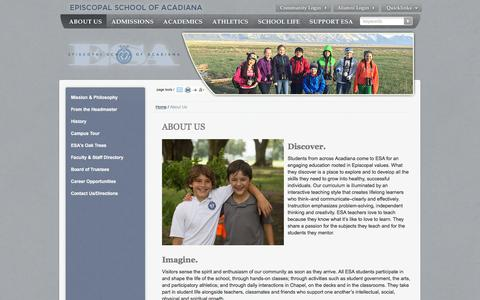 Screenshot of About Page esacadiana.com - Episcopal School of Acadiana: About Us - captured Jan. 30, 2016