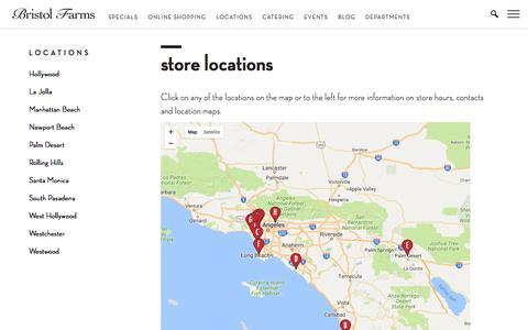 Screenshot of Locations Page bristolfarms.com - Store Locations | Bristol Farms - captured June 3, 2017