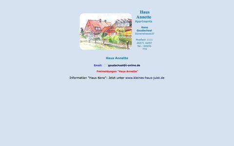 Screenshot of Home Page keno-juist.de - Haus Annette Haus Keno - Juist - Familie Goudschaal - captured June 9, 2018