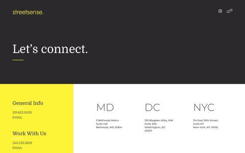 Screenshot of Contact Page streetsense.com - Contact - Streetsense - captured April 7, 2019