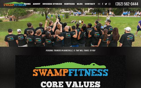 Screenshot of About Page swampfitness.com - Swamp Fitness - Personal Trainer Gainesville, FL | About — Swamp Fitness | In-Home Personal Training | Gainesville Personal Trainers | Personal Trainer Gainesville, FL - captured Oct. 20, 2018