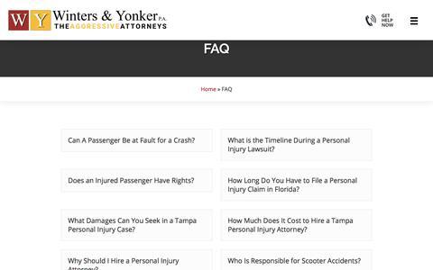 Screenshot of FAQ Page wintersandyonker.com - FAQ Archive | Winters & Yonker, P.A. - captured Oct. 13, 2019
