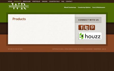 Screenshot of Products Page wrwoodworking.com - Products - captured Jan. 11, 2016
