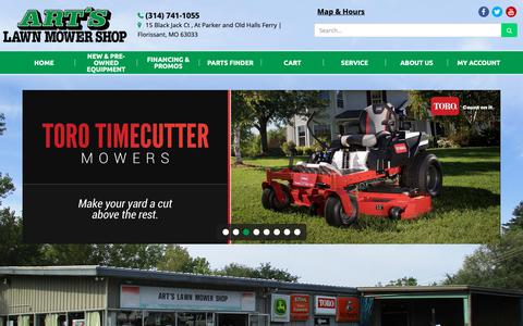 Screenshot of Home Page artslawnmowershop.com - Home Art's Lawn Mower Shop Florissant, MO (314) 741-1055 - captured Oct. 4, 2018