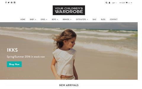 Screenshot of Home Page yourchildrenswardrobe.com - Your Children's Wardrobe - Children's Designer Clothes - captured Aug. 11, 2016