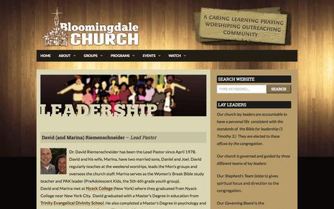 Screenshot of Team Page bloomingdalechurch.org - Leadership | Bloomingdale Church - captured Sept. 30, 2014