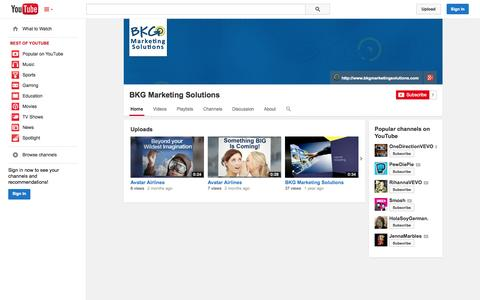Screenshot of YouTube Page youtube.com - BKG Marketing Solutions  - YouTube - captured Oct. 23, 2014