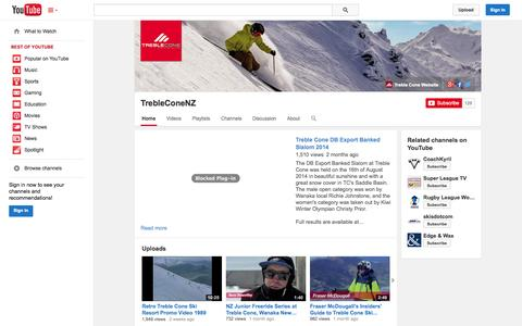 Screenshot of YouTube Page youtube.com - TrebleConeNZ  - YouTube - captured Nov. 1, 2014