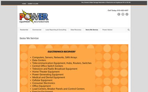 Screenshot of Testimonials Page powerequiprestore.com - Power Equipment Restoration Fire, Smoke & Water Damage Restoration of Electronics and Appliances PA NJ DE MD  » Items We Service - captured Nov. 2, 2014