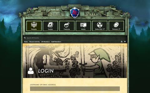 Screenshot of Login Page zeldauniverse.net - Login - Zelda Universe Forums - captured Sept. 7, 2017