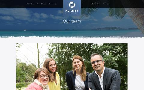 Screenshot of Team Page planetdestinations.com - Our team - Planet Destinations - captured Sept. 28, 2018