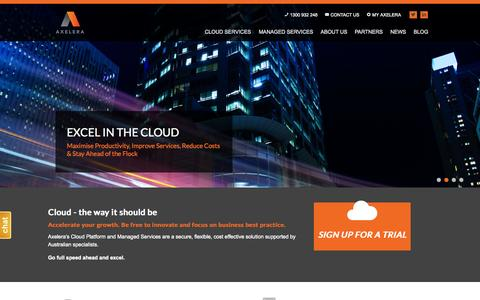 Screenshot of Home Page axelera.com.au - Australian Cloud and Managed Services for Mid-Market to Enterprise | Axelera - captured June 17, 2015