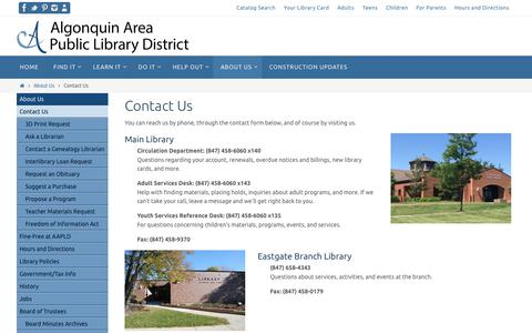 Screenshot of About Page aapld.org - Contact Us – Algonquin Area Public Library - captured Oct. 8, 2017