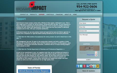 Screenshot of Support Page browardimpact.com - broward impact windows - captured Oct. 5, 2014