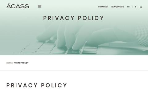 Screenshot of Privacy Page acass.com - Privacy Policy - ACASS - captured July 28, 2018