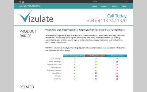 Screenshot of Products Page vizulate.com - Product Range - Vizulate - captured Oct. 26, 2014