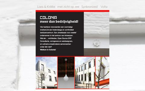 Screenshot of Home Page colonia-antwerpen.be - Officiële opening Colonia | Vrijdag 15 juni 2012 - captured Sept. 4, 2015