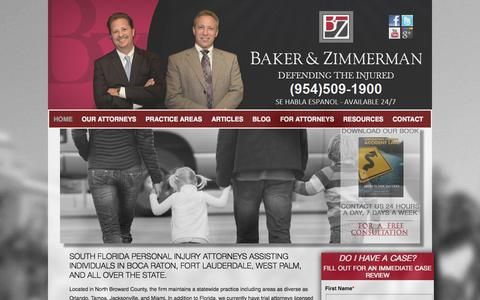 Screenshot of Home Page bakerzimmerman.com - Florida Personal Injury Attorneys | Boca Raton, Parkland | Baker & Zimmerman - captured Oct. 5, 2014