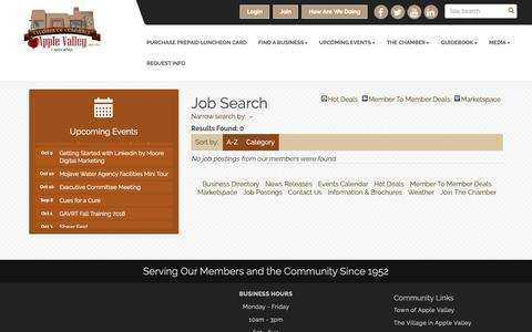 Screenshot of Jobs Page avchamber.org - Job Search - Apple Valley Chamber of Commerce, CA - captured Oct. 3, 2018