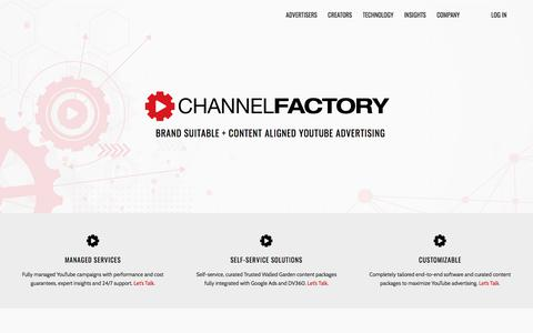 Screenshot of Home Page channelfactory.com - Brand Suitability and Content Alignment on YouTube - Channel Factory - captured July 30, 2019