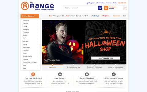 Screenshot of Home Page therange.co.uk - The Range | Shop Furniture, Curtains, Bedding, DIY, Garden And More - captured Oct. 15, 2015